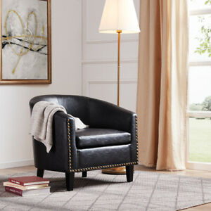 Peachy Details About Modern Tub Barrel Accent Chair Faux Leather Nailhead Living Room Black Uwap Interior Chair Design Uwaporg