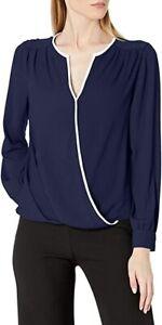 Vince Camuto Top Faux Wrap Blouse Women Navy Blue Sz XL NEW NWT 488