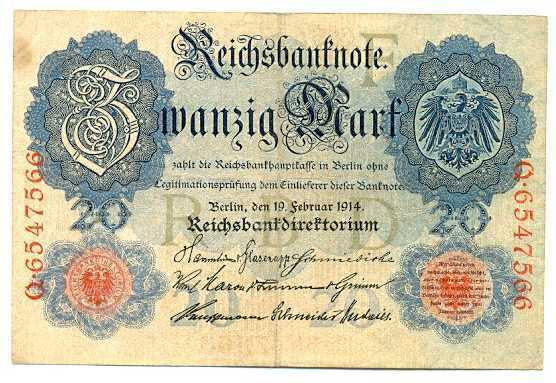 Germany Empire Imperial Bank Note 20 Mark 19.2. 1914 VF #47b
