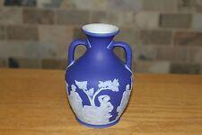 """Antique Wedgwood Cobalt Blue Jasper Ware 5"""" Portland Vase (c.1840)"""