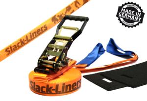 50mm breit 15m lang Orange 4 Teiliges Slackline-Set Made in Germany