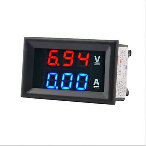Nueva-DC-voltimetro-amperimetro-Azul-100V-10A-LED-Digital-Rojo-Voltimetro-Medidor