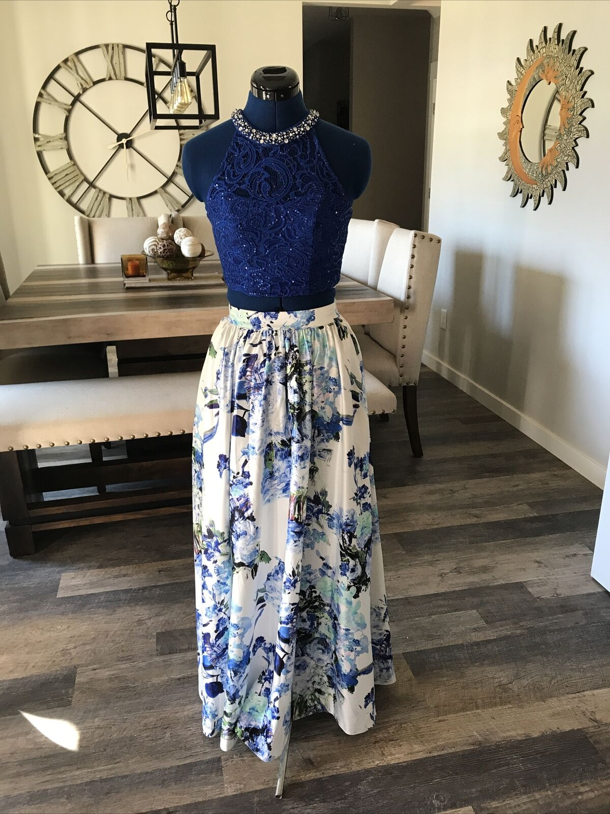 Women's Formal Dress Size 1 By Xtra Ordinary Blue And White Beaded Top