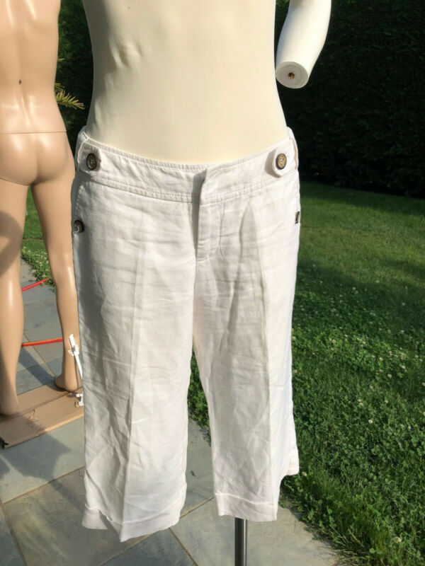 Vornehm Damen Leinen Bermuda Shorts Hose Capri Kurze Chino Sommer Stoffhose V.mexx Gr.34 Bequemes GefüHl