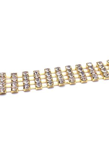 1m Diamante//Rhinestone Crystal 4 row Chain Trim Lace Gold Base China A Quality