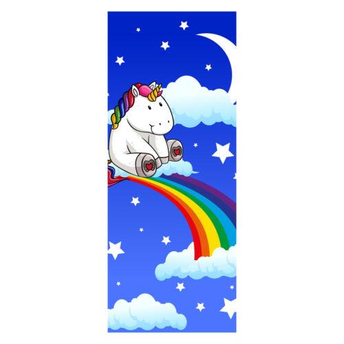 Wandbild M0434 Tür-Aufkleber Türtapete Regenbogen-Einhorn Tapete Türbild
