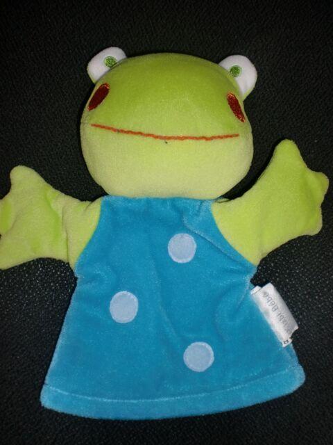 doudou marionnette grenouille bleu vert KIABI BEBE