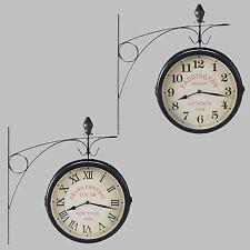 Dos Caras Reloj De Estación Tren Pared Metal Vintage Retro Negro Paddington