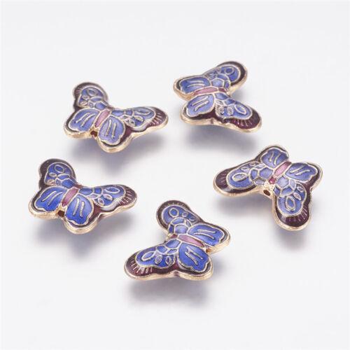 5Pcs Light Gold Royalblue Alliage Émail Papillon Perles Artisanat 22x17x5mm Trou 1 mm