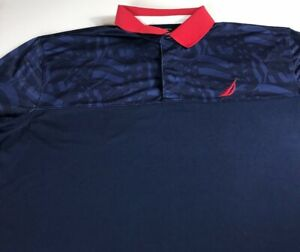 Nautica-Polo-Shirt-Mens-3XL-Slim-Fit-Navy-Blue-Red-Blue-Sailing-Boat-Flag-USA