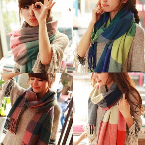 UK/_ EG/_ Warm Winter Women Long Cashmere Wool Scarf Large Shawl Lady Plaid Scarf