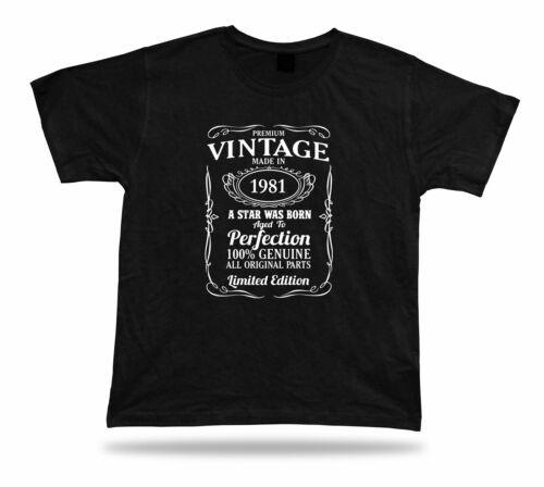 Printed T shirt tee star is born 1981 happy birthday present gift idea original