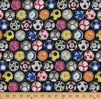 Cotton Sports Soccer Balls Ball Multi Color Cotton Fabric Print By Yard D662.39