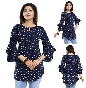 Women-Indian-Kurti-Tunic-Kurta-Shirt-Dress-Printed-Frilled-Sleeves-Top-SC2492