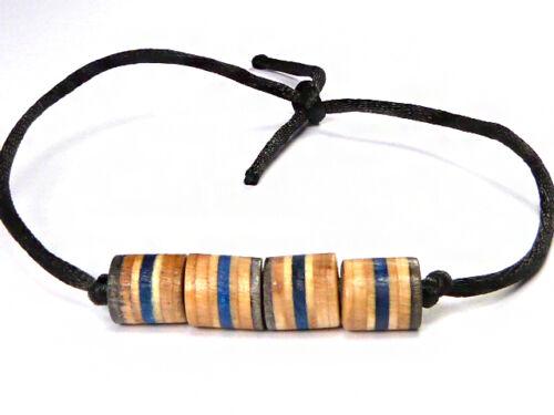 Patineta Reciclado Hecho a mano de madera hecha a mano con cuentas pulsera del grano encanto tobillera