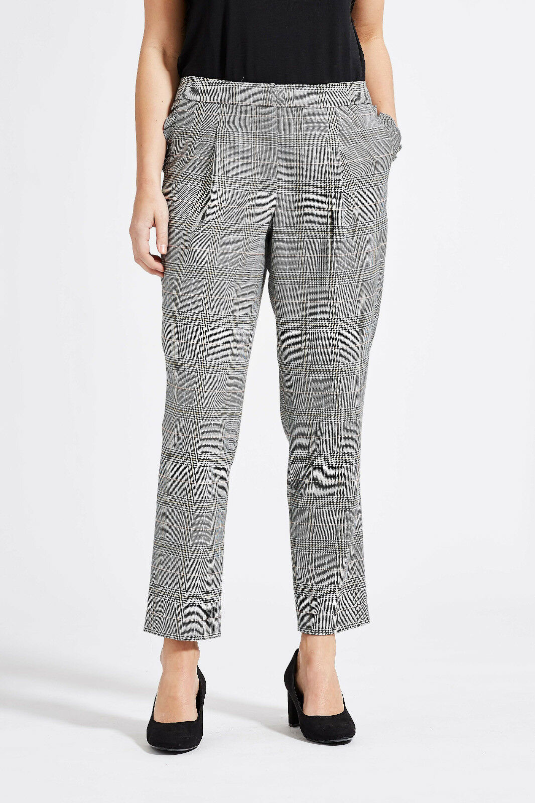Laurie Trousers, Wide-cut, grau check, Ruffle Trim, Größe 42
