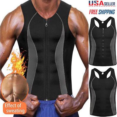MEN BODY SHAPER HOT SWEAT WORKOUT TANK TOP SLIMMING VEST WEIGHT LOSS FAT BURNNER
