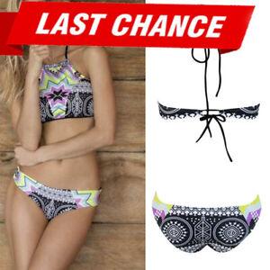 SALE Swimsuit Bikini Halter Padded Top Aztec Geometric High Neck Swimwear M-XL