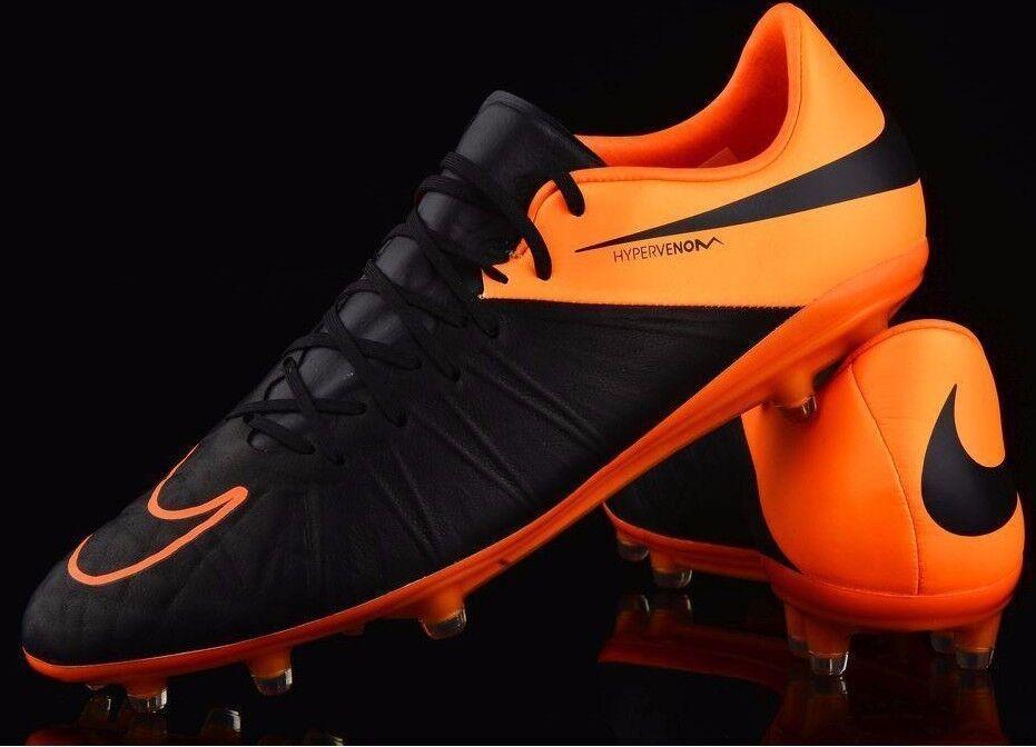 Nib Nike Sz7us Hypervenom Phinish Hombre Cuero Fútbol Tacos Negro Naranja