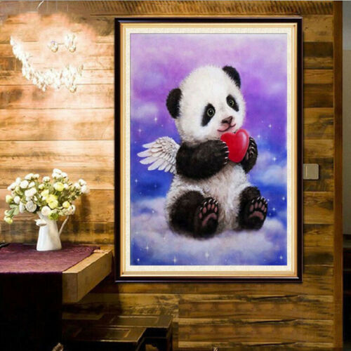 5D Diamond Painting Panda Hold Red Heart Art Cross Crafts Stitch Home Decor Shan