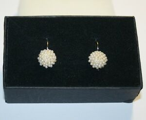 Created-White-Pearl-Cluster-Leverback-Drop-Earrings-14k-Yellow-Gold-over-Base