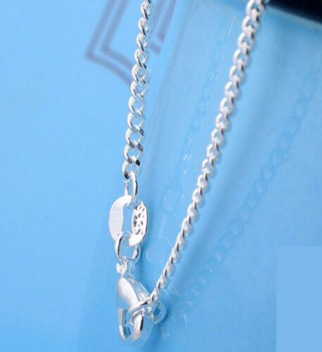 """2mm Silver stamped Link Grinding chain necklace Sterling pendant curb 925 16-30/"""""""