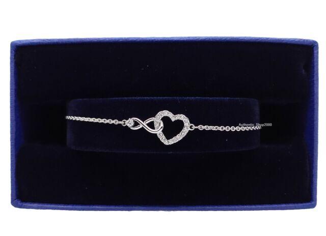Swarovski Crystal Infinity Heart Bracelet White Rhodium Plated 5525421