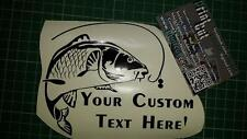 Carp Fishing Stickers x2- Your Custom Text car/van/tacklebox/Bike/Baitbox TYPE3