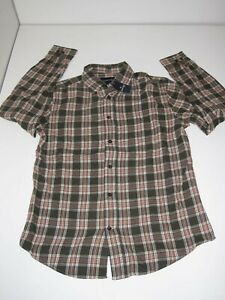 ST. JOHNS BAY Button-Up-Front Flannel Shirt S Small sz Men's (Plaid #24) NEW NWT