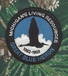 '82 - '83 Original Michigan Dnr Living Resources Great Blue Heron Patch