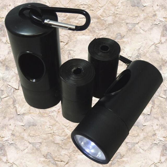 FREE 2 Flash Light Dispensers +40 DOG CAT PET WASTE BAGS POOP SCOOP Rolls BLACK