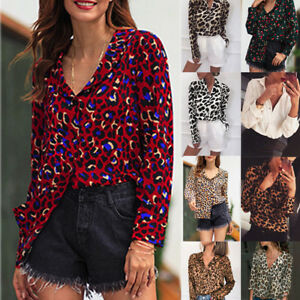 Fashion-Women-V-Neck-Ladies-Leopard-Print-Long-Sleeve-Loose-T-Shirt-Tops-Blouse