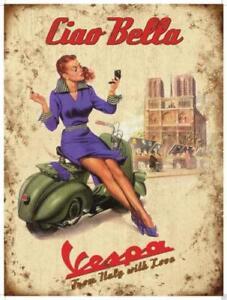 Retro Vintage Metal Sign Plaque Vespa Scooter Advertising