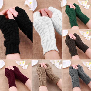 Womens-Ladies-Thermal-Fingerless-Winter-Warmer-Knitted-Casual-Gloves-Mittens-AU