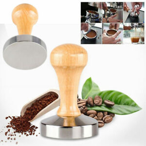 51/57.5mm Stainless Steel Wooden Coffee Tamper Tool Accessory With Wood Handle