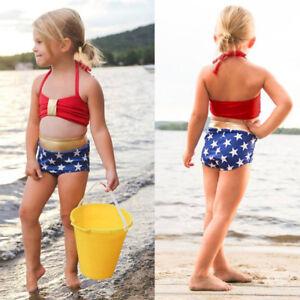 2PCS-Kids-Baby-039-s-Girls-Swimwear-Straps-Swimsuit-Bathing-Bikini-Beach-Vest-Shorts