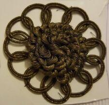 Antik: seltene uralte Metall Brokat Applikation  Handarbeit Ø 70mm vor 1900