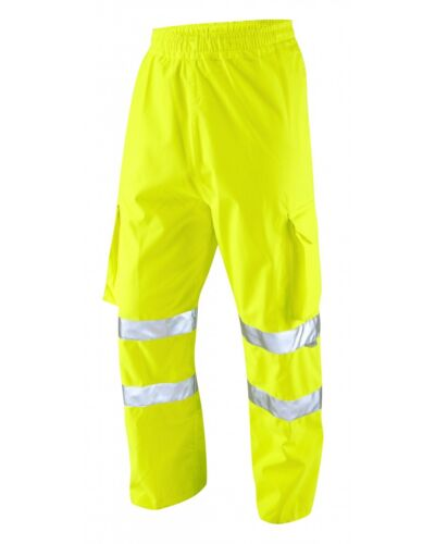 Executive Cargo Hi-Vis Yellow Waterproof Over Trousers  Pockets Breathable LEO