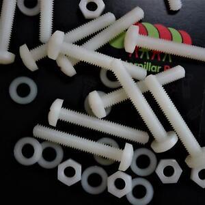 50-x-Nylon-viti-testate-a-croce-in-plastica-per-macchine-M6-x-40mm-Naturale