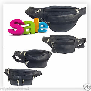 REAL-LEATHER-BUM-BAG-WAIST-MONEY-WALLET-TRAVEL-HOLIDAY-CHANGE-POUCH-BELT-POCKETS