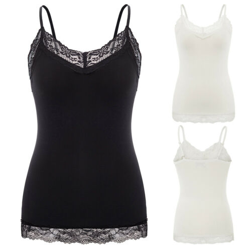 Lace V Neck Camisole Ladies Sleeveless Spaghetti Strap Solid Plus Size Tops HN