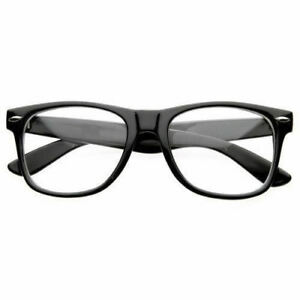 2c08176100e NEW BLACK FRAME RETRO Geek Nerd Non Prescription Clear Lens Eye ...