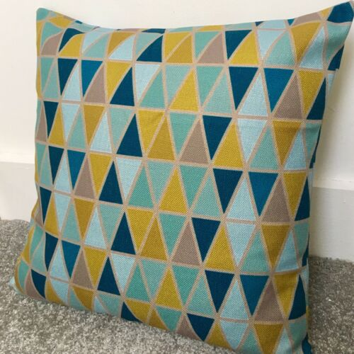 Teal Blue Mustard Yellow Triangles Geometric Cushion Cover 55cm 22/""