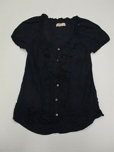 HOLLISTER-T6730-Women-039-s-Size-S-Casual-Drawstring-Navy-Blue-Cotton-Blouse-Top