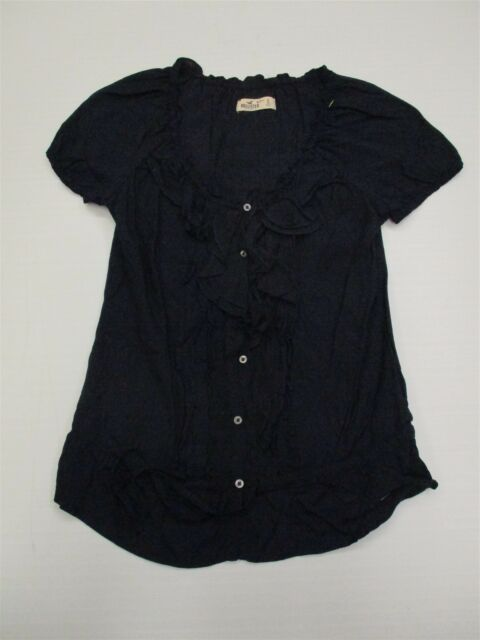 HOLLISTER T6730 Women's Size S Casual Drawstring Navy Blue Cotton Blouse Top