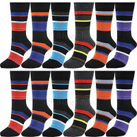 12 Pairs YDST-6 New Cotton Men Striped Style Dress Socks Size 10-13 Multi Colors