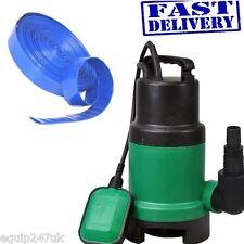 250W Bomba Sumergible Agua Sucia 6500 litros por hora + 10m X 25mm Azul Manguera De lf