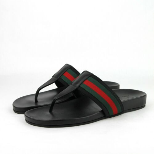 895aeb1cbf26 New Gucci Men  39 s Black Leather Thong Sandals with GRG Web Detail 386768