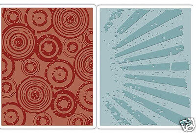 Sizzix Texture Fades Embossing Folders 2PK Rays /& Retro Circles Set by Tim Holtz