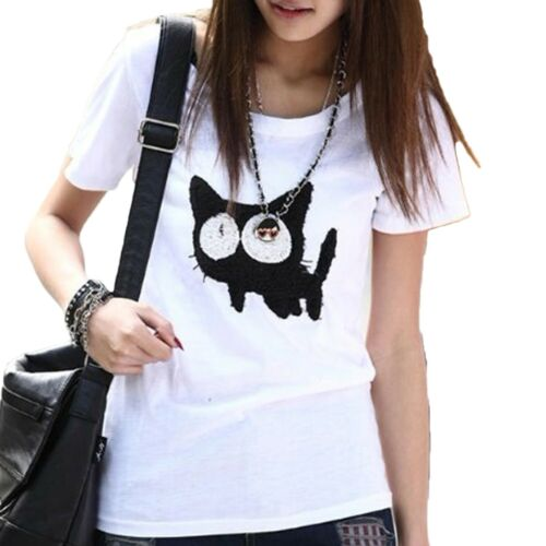 Retro Short Sleeve shirt Fashion Japan blouse Ladies Summer Top UK Size 8 10 12